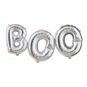 Ginger Ray Silver Boo Balloon Halloween Bunting Decoration No Helium Required - Pumpkin Party