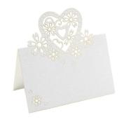 bismarckbeer 50pcs Love Heart Laser Cut Wine Glass Wedding Party Table Name Cards Favour Decor