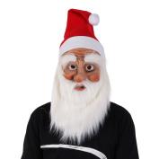 Christmas Santa Claus Mask, Shiningup Funny Wig Beard Christmas Hat Latex Supersoft Mask Adult