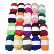 RayLineDo® Pack 20 x 25g Ball Assorted Colours 100% Acrylic Knitting Yarn Crochet Crafts Total of 900m Colourful Yarn with 3 Crochets