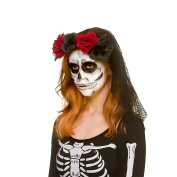 Ladies Day of the Dead Black Lace Veil with Dark Red & Black Roses Halloween Accessory
