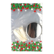 Christmas Holly Cupcake Bags with Boards and Ribbon Ties - Pack of 12