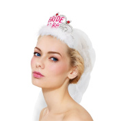 CHIC*MALL 1pcs Veil Bride To Be Hen Night Party Brde Crown Crown Feather Net Yarn White