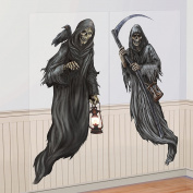 2PCS 1.5m Spooky Grim Reaper Halloween Cemetery Scene Setter