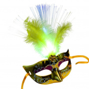 Transer® Women Venetian LED Fibre Mask- Ladies Light Up Princess Feather Masks for Masquerade Fancy Dress Party