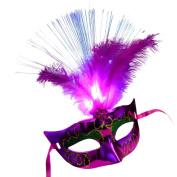 Transer® Women Venetian LED Fibre Mask- Ladies Light Up Princess Feather Masks for Masquerade Fancy Dress Party