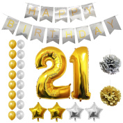 21st Happy Birthday Party Balloons, Supplies & Decorations by Belle Vous - All-in-One Set - Large 21 Years Foil Balloon - Gold and Silver Latex Balloon Decoration - Decor Suitable for All Adults