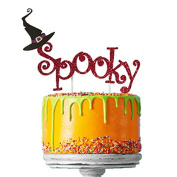 Spooky Halloween Cake Topper with Witches Hat - Glittery Dark Pink Cake Topper