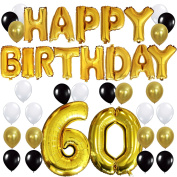 "KUNGYO 60TH Birthday Party Decorations Kit - Happy Birthday Balloon Banner, Number ""60"" Balloon Mylar Foil, Black Gold White Latex Ballon, Perfect 60 Years Old Party Supplies"