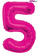WOW 90cm Giant Pink Foil Number 5 Balloon