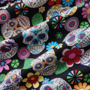 Black 100% Cotton Poplin Fabric with Sugar Skulls - Mexican Day of the Dead - Halloween