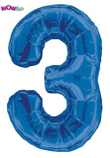 WOW 90cm Giant Blue Foil Number 3 Birthday Balloon