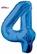 WOW 90cm Giant Blue Foil Number 4 Birthday Balloon