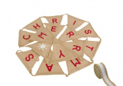 Hessian Merry Christmas Bunting Banner Vintage Burlap with 1 Metre Rustic Ribbon for Christmas Party Favours