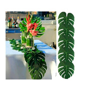 VWH 12pcs Tropical Palm Leaves Artificial Palm Leaves Table Mats Party Jungle Beach Theme Party Decorations Table Decoration