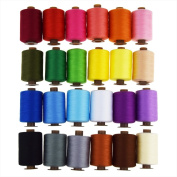 Candora® Wholesale Sewing Thread Coil 24 Colour 1000 Yards Each Polyester All Purpose for Hand and Machine Sewing