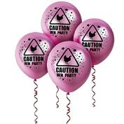 12 Hen Party Balloons - Caution Balloons - Girls Party Hen Decorations Wedding Bachelorette - 23cm