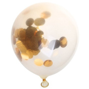 Sicai Confetti Balloons, 12 Pcs Jumbo Latex Balloon With Golden Paper Confetti Dots, 30cm Clear Balloon For Party and Wedding Decoration