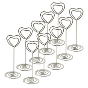 CHIC*MALL 10 Crystal Heart Table Place Card Name Holders Table Number Decoration Wedding Supplies