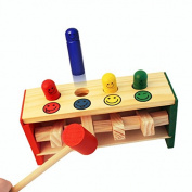 Guizen Kids Baby Toddler Educational Strike Trapeze Game Toys Wooden Pounding Bench with 4 PCS Colourful Smile Face Pegs and Mallet Hammer for Children Boys Girls Babies Wooden Toys.