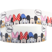 2m x 22mm WHITE DISNEY CHARACTERS HEADS GROSGRAIN RIBBON FOR CAKE'S BIRTHDAY CAKES GIFT WRAP WRAPPING RIBBON HAIR BOWS CARDS CRAFT SHOELACES