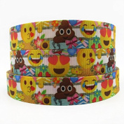 2m x 22mm EMOJI CHARACTER GROSGRAIN RIBBON FOR CAKE'S BIRTHDAY CAKES GIFT WRAP WRAPPING RIBBON HAIR BOWS CARDS CRAFT SHOELACES