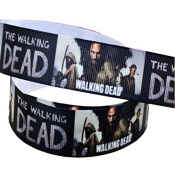 2m x 22mm DARK THE WALKING DEAD TWD GROSGRAIN RIBBON FOR BIRTHDAY CAKE'S, WEDDING CAKES, GIFT WRAP WRAPPING