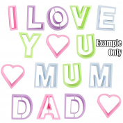 I Love You Mum Dad Cookie Cutters - Kids Baking Kitchen Craft Alphabets