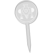 6 x 'Industrial Drill' Clear Cupcake Picks / Cake Toppers