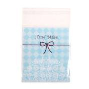 Lace Doilie Printed Cellophane Cookie Bags Clear[Hand Made Blue,100]