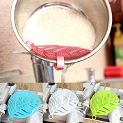 Generic Green : 1Pcs Plastic Leaf Shape Rice Wash Sieve with Clip Cleaning Helper Kitchen Tools