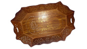Wooden octal shape with jali and inlay, mango desingn,Wooden Tray,solid Rosewood Tray,ea or coffee Tray