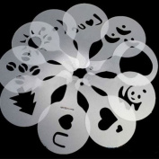 AsentechUK® 16PCs Plastic Cafe Foam Spray Template Barista Stencils Decoration Tool Garland Mould Fancy Coffee Printing Model