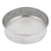 DealMux Metal Round Home Kitchen Flour Mesh Sifter Strainer 14.5cm Diameter Silver Tone