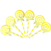 Merssavo 6pcs Topper Paper Lollipop With Straw Cake Decoration Wedding Birthday Party