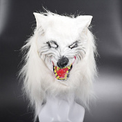 Scary Masks Halloween Mask for Adults Kids, Horror White Fox Mask Cosplay Party Costume Fancy Dress Rubber for Theme Parties, Family Gatherings, Halloween, Clothing Parties