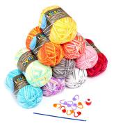 LIHAO 10 x 50g Crochet Yarn Multi-Coloured Acrylic Cotton Wool Knitting Yarn Set