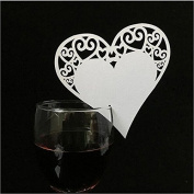 BuycheapDG Laser Cut White Love Heart Name Place Card - Champagne / Wine Glass Decoration, Wedding Engagement Party Favour, Table Number Decor