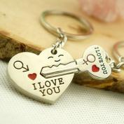 "Gemini_mall® ""I Love You"" Heart Key Couple Key Chain Key Ring Keyring Keyfob - Birthday / Valentine's Day / Wedding Anniversary Gift for Lovers"
