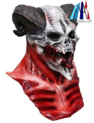 MASCARELLO®Adults Devil Skull Scary Latex Full Head And Chest Deluxe Horror Halloween Mask