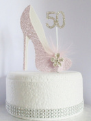 50th Pink and White Birthday Cake Decoration Shoe with Feathers and Crystal Flower Embellishments and Diamante Number Non- Edible