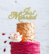 Just Married Cake Topper - Wedding Cake Topper - Gold