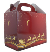 10 x RED/GOLD REINDEER CHRISTMAS GABLE BOXES - Cardboard Xmas Gift Hamper Box