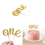 YiZYiF 2Pcs Handmade Letter ONE Double-sided Glittery 1st First Birthday Cake Top Toppers Decor
