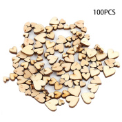 LUVCALS 100pcs 4 Sizes Mixed Rustic Wooden Love Heart Wedding Table Scatter Decoration
