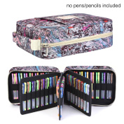 Pencil Case Holder Slot - Holds 202 Coloured Pencils or 136 Gel Pens with Zipper Closure - Large Capacity Polyester Pen Organiser for Watercolour Pens & Markers | Perfect Gift for Students & Artist fresh qianshan