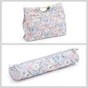 Matching Set - Knitting Bag (wooden handles) & Knitting Pin Soft Case - Homemade