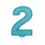 Blue Sparkle Numeral Candle - Number 2 - 70mm