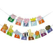 Kids PEPPA PIG Happy Birthday Banner Bunting Party Decoration Birthday Flags UK