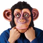 MASCARELLO® Chimp Mask Monkey Chimpanzee Animal Full Overhead Mask Fun Halloween Face Furry
